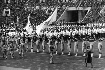 100 Rublos 1980 Juegos Olímpicos de Moscú Delegacion_espanola_inauguracion_Juegos_Moscu_19