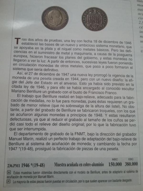 1 peseta 1946. Estado Español. ¿Prueba de circulación? 1503043506069-167627916