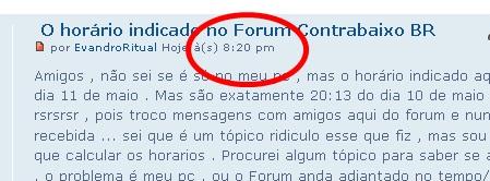 O horário indicado no Forum Contrabaixo BR Hora