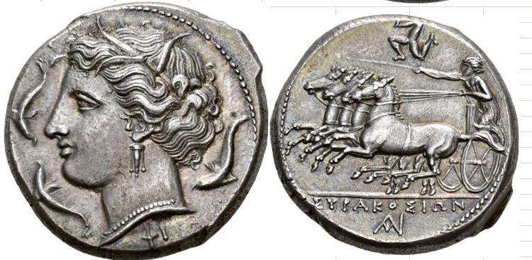 Tetradracma de Siracusa con engarce. 3333