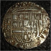 2 reales macuquinos Felipe II o III. Potosí Moedas_701