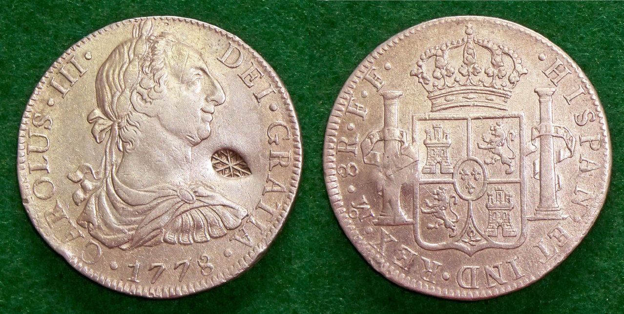 8 Reales 1778. Méjico. Carlos III. El resello de Madura (Sultanato de Soumenep) 100_2180