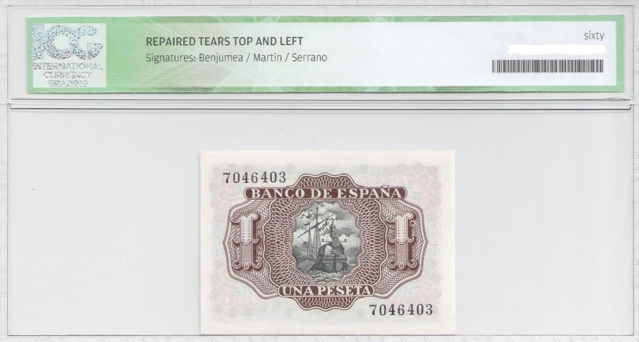 Colección de billetes españoles, sin serie o serie A de Sefcor 53_reverso