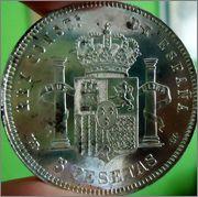 5 Pts.1889 *18-89 AFONSO XIII M.P M (Pelón) recien salida del horno Image
