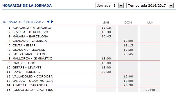 LA QUINIELA DE ZONAMALAGUISTA. J31ª (8-9-10 Abril) JQ_Horarios