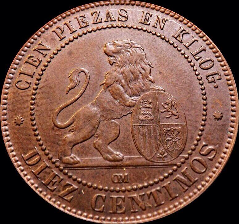 10 céntimos 1870 Gobierno Provisional-Panadero dedit. Image