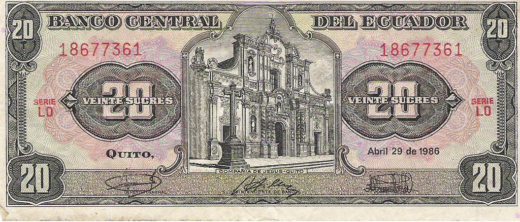 20 sucres de Ecuador año 1986 Image