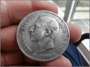 5   pesetas  1885*18-87* Alfonso XII - M.S.M  20131121_155438