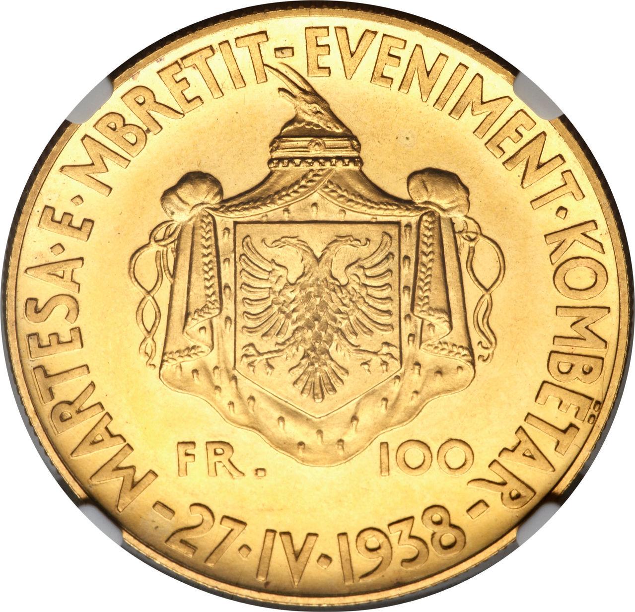 100 Francs. Albania. 1938  Lf_CAJICZLF