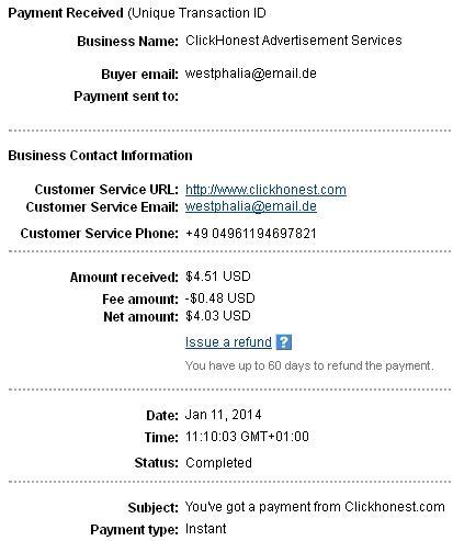2º Pago de Clickhonest ( $4,51 ) Clickhonestpayment