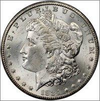 "1 Dollar "" Morgan"". U.S.A. 1884. Carson City Image"