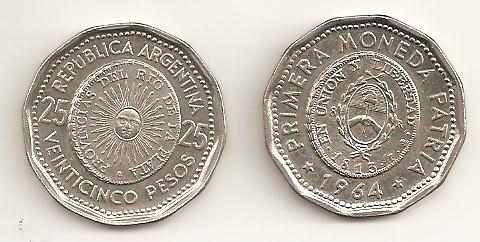 25 Pesos. Argentina. 1964 Argentina_25_pesos_pimera_moneda_patria_1964_MLA