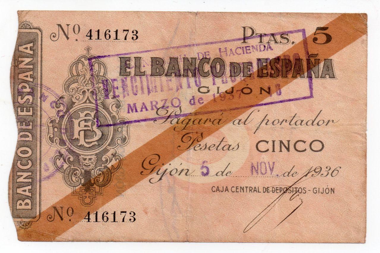 5 Pesetas 5 Noviembre 1936, Banco de España (Gijón)  Img040