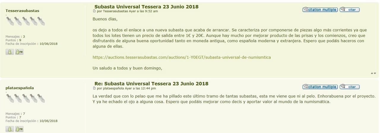 Subasta Universal Tessera 23 Junio 2018 Forogothjtihjtihjhgi
