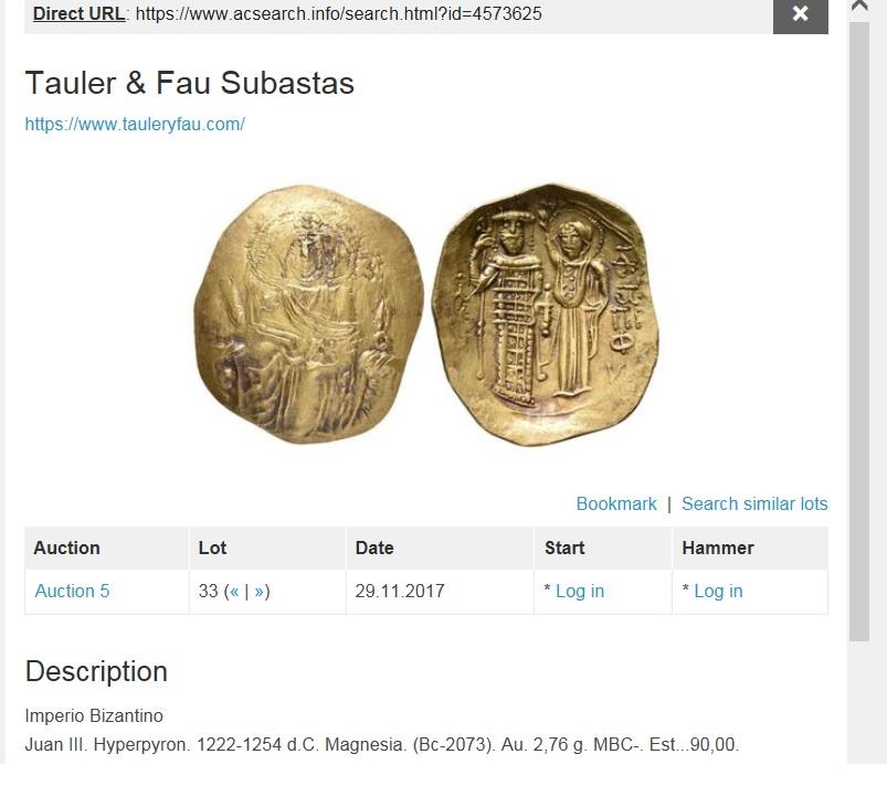 Tauler & Fau 19/06/2018. Otra vez subastando un Hyperpyron de Juan III falso. T9git9git9gitg9itg9