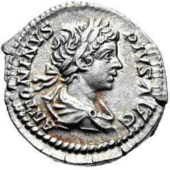 Denario de Caracalla. PONTIF TR P III. Sol estante de frente mirando a izq, Roma. Image