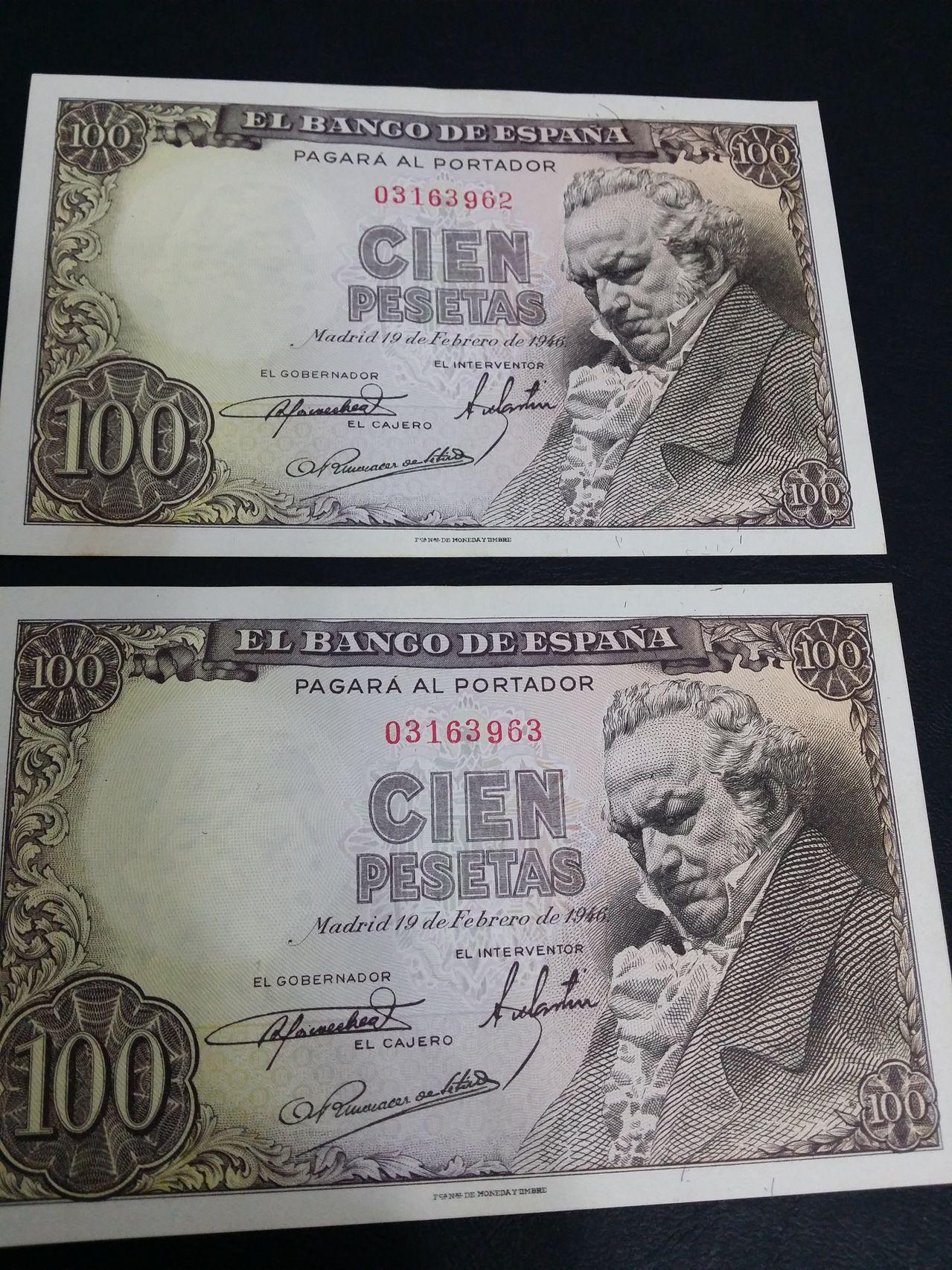 100 Pesetas 1946 (Goya Sin serie - pareja) 20160117_133116