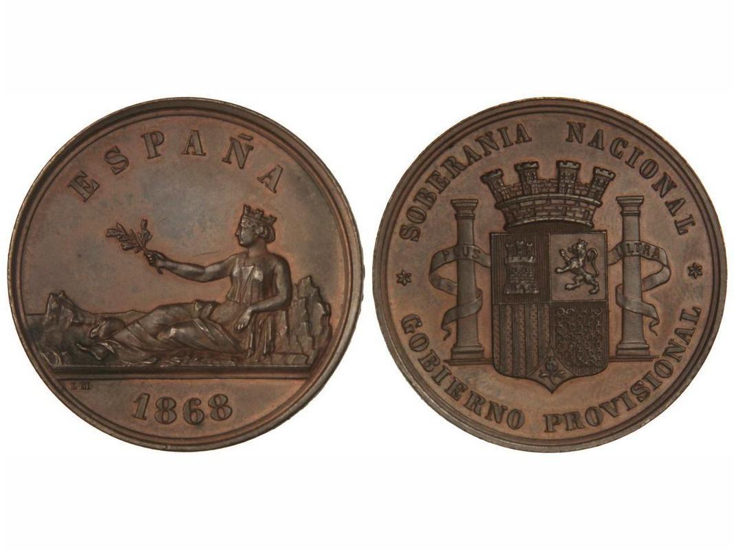 Medalla Soberanía Nacional. Gobierno Provisional 1868.  0_C90167_A-5_F05-4_BD6-836_D-20_FD7249_A481