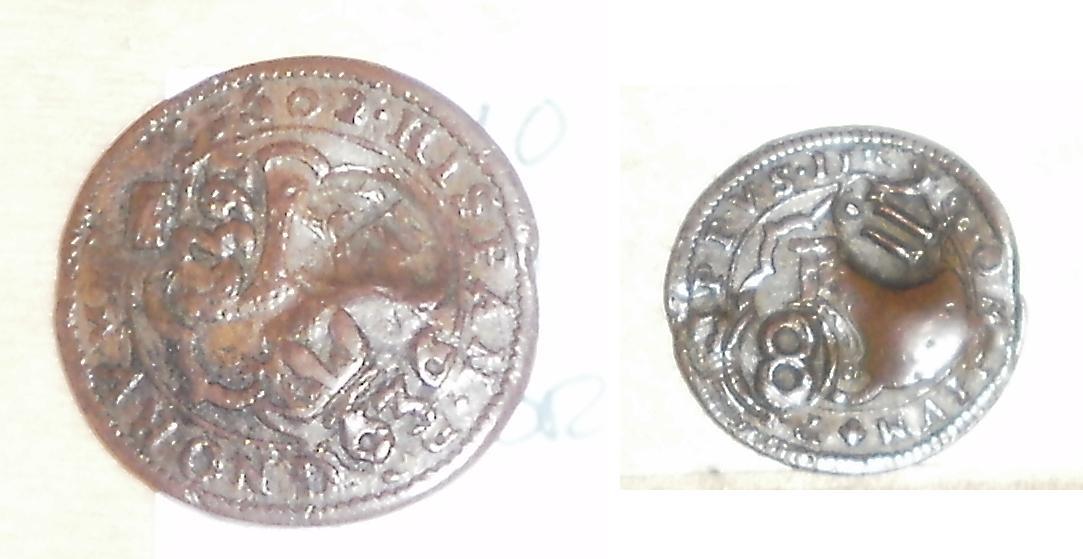 IV maravedís Felipe III 1602 resellados a VIII maravedís 1603, resello XII maravedís 1636 y 8 de 1652 Resello