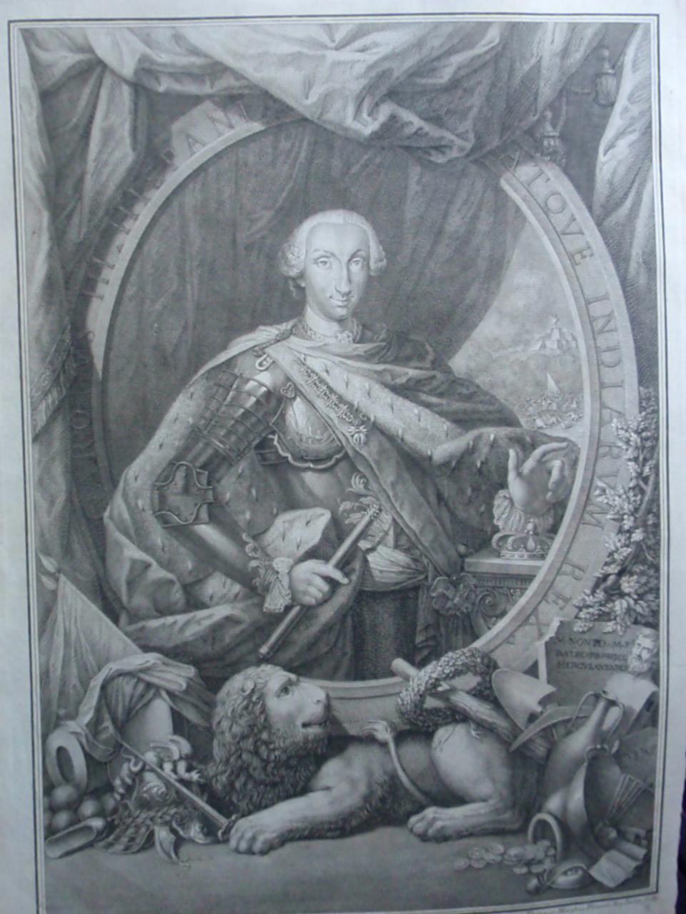 Grabado retrato de Carlos III de España. c.1760. Autor Filippo Morghen. A/A de Patricia. Estampa_001