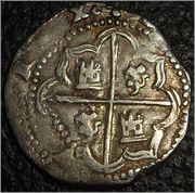 2 reales macuquinos Felipe II o III. Potosí Moedas_702