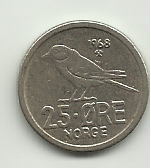25 ore Olav V de Noruega 1968 25_0re_r