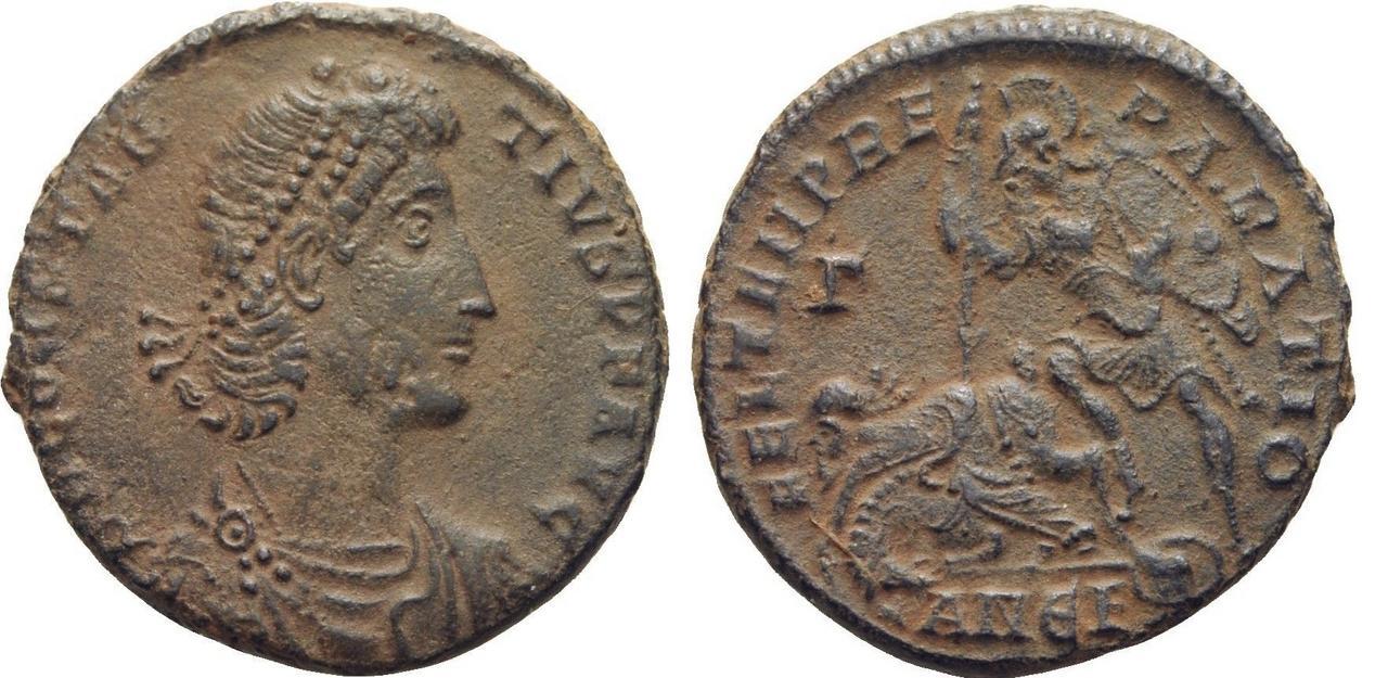 AE2 de Constancio II. FEL TEMP REPARATIO. Soldado alanceando a enemigo. Antioquía Matao_antioq_15
