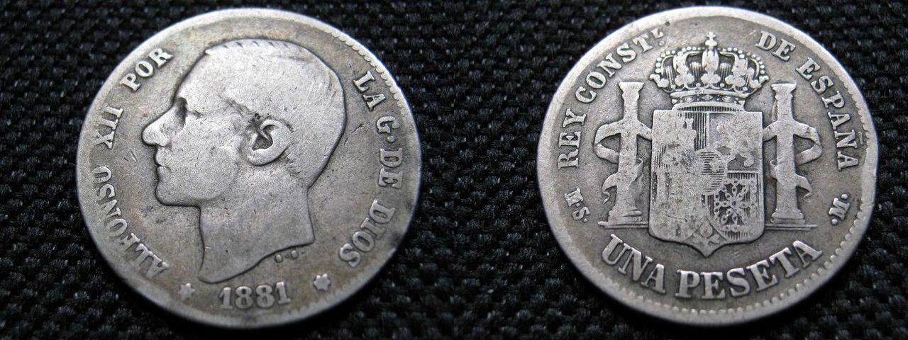 1 peseta 1881. Alfonso XII. Pido consejo,  Image