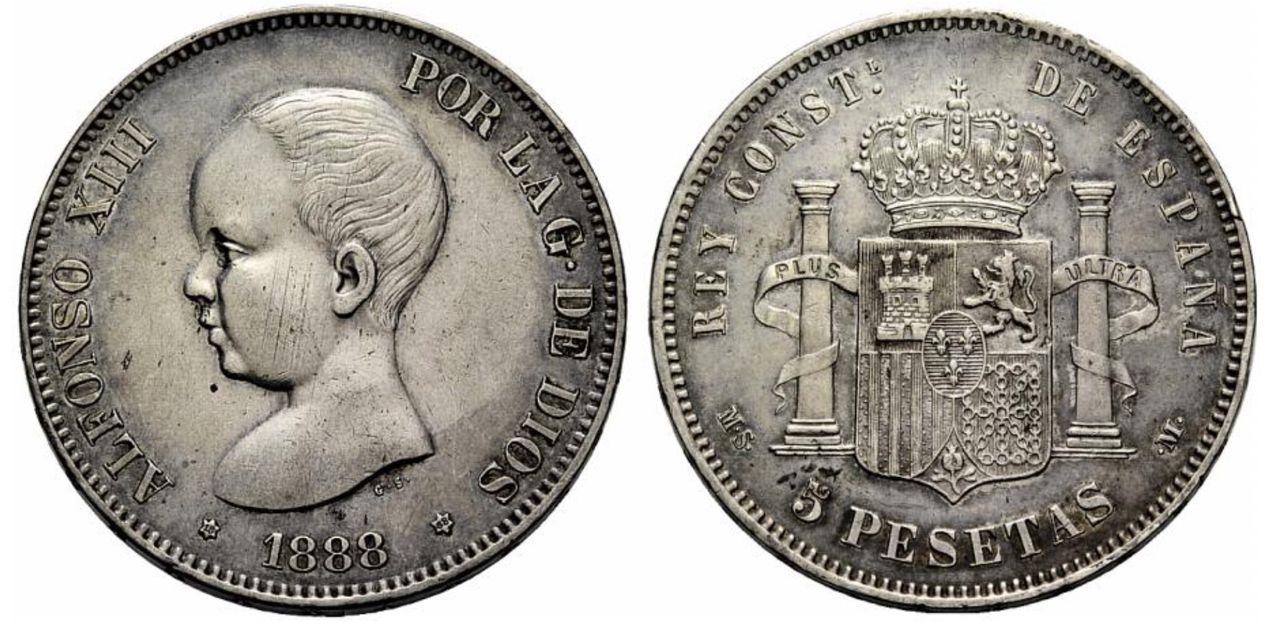 5 pesetas 1888 Alfonso XIII - Página 2 Image