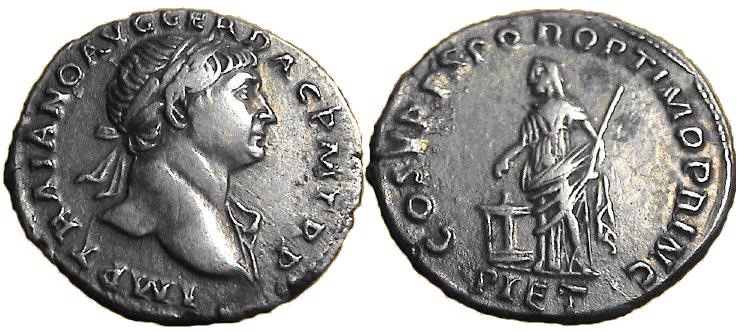 Denario de Trajano. COS V P P S P Q R OPTIMO PRINC / PIET. Pietas estante a izq. Roma. Image