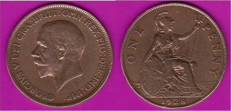 MONEDA DE UN PENIQUE 1928 - EL ESCULTOR DEL REY GEORGE_V_EDITADO