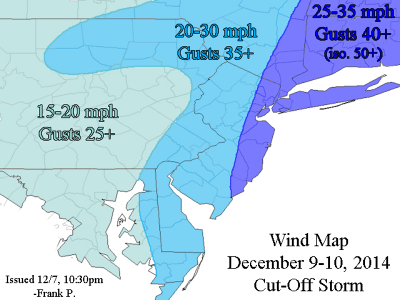 December 9th-10th Forecast Map(s) Cut-Off Coastal Storm Wind_map