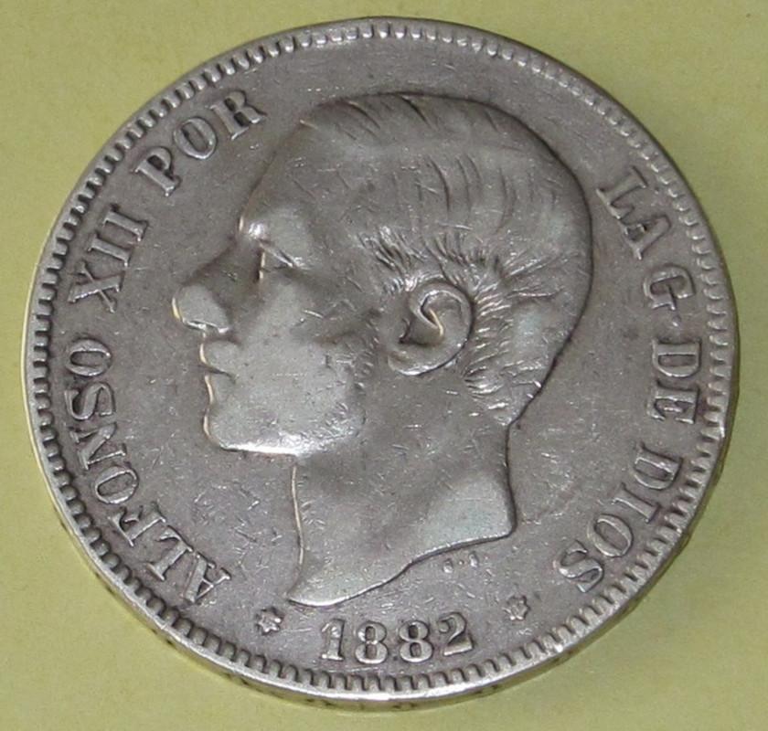 Duros de Plata de Alfonso XII 1882_1estrella