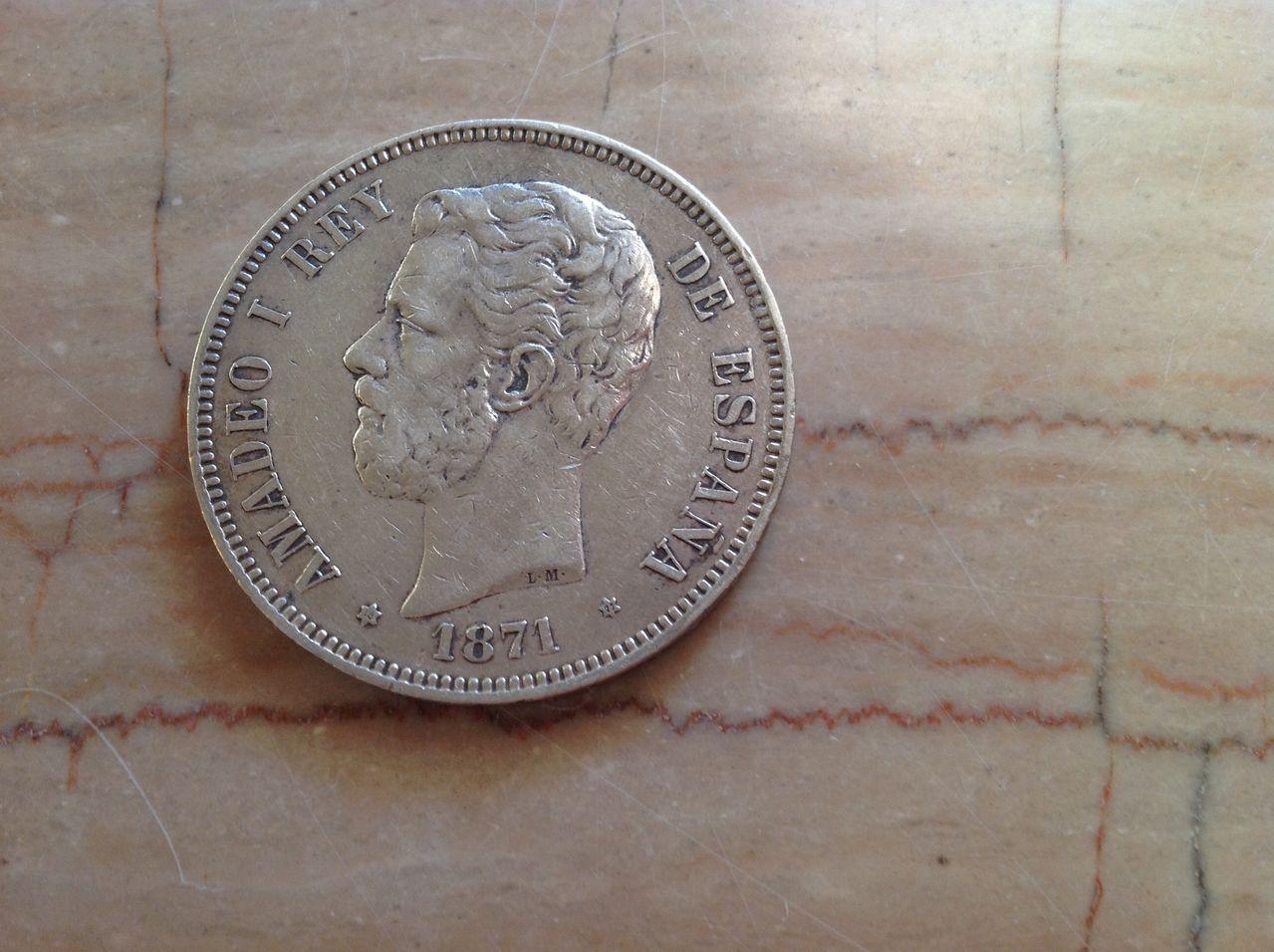 """5 pesetas 1871 *71 Amadeo I sin punto en la """"G"""" Image"""