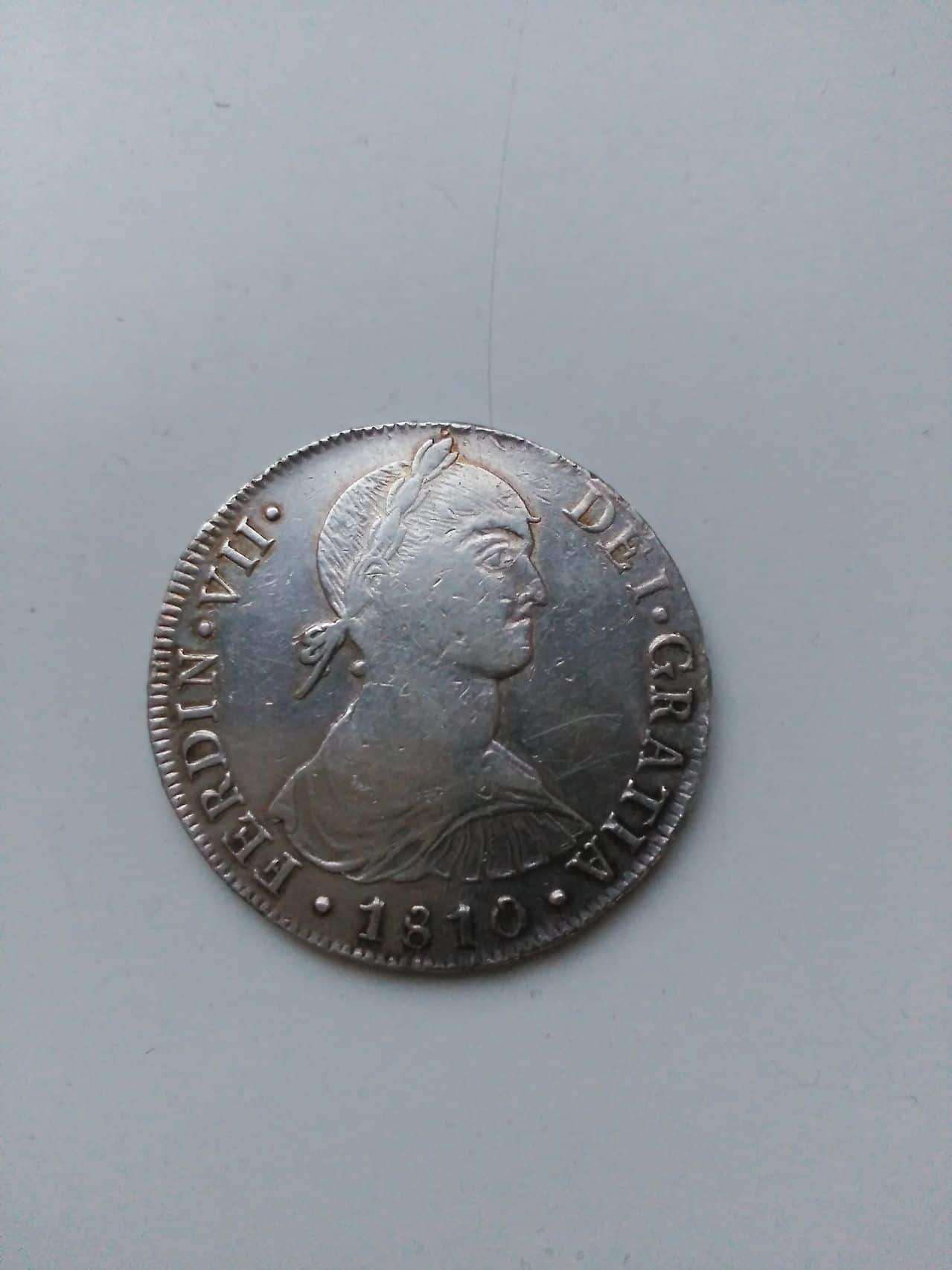 8 reales de Fernando VII cara indígena 1810  Image