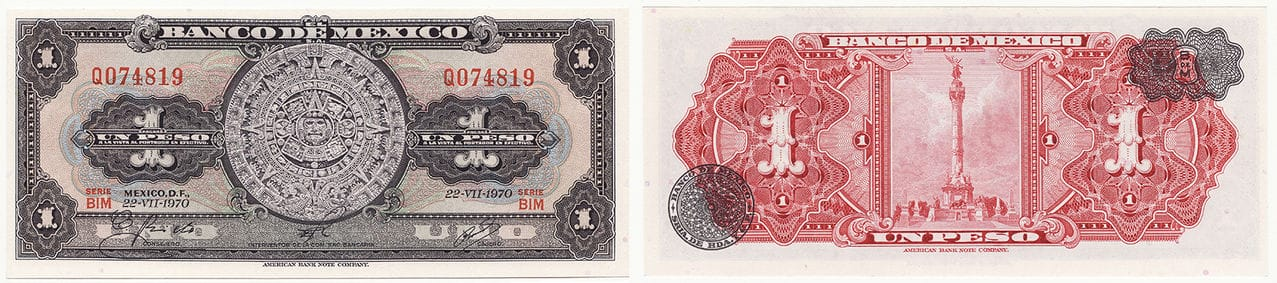 1 Peso Mexicano, 1970.  Mexico