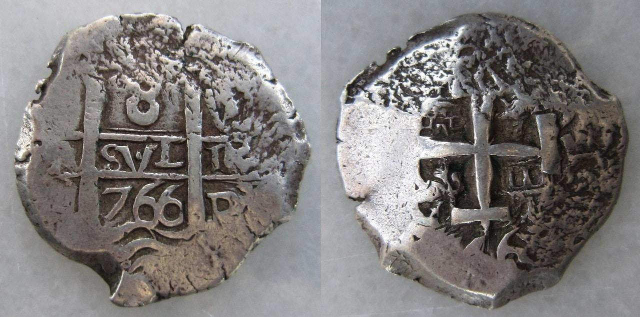 """8 Reales """"macuquinos"""" de Carlos III. Año 1766, Potosí. 8_reales_1766_Potos_Carlos_III_1766"""