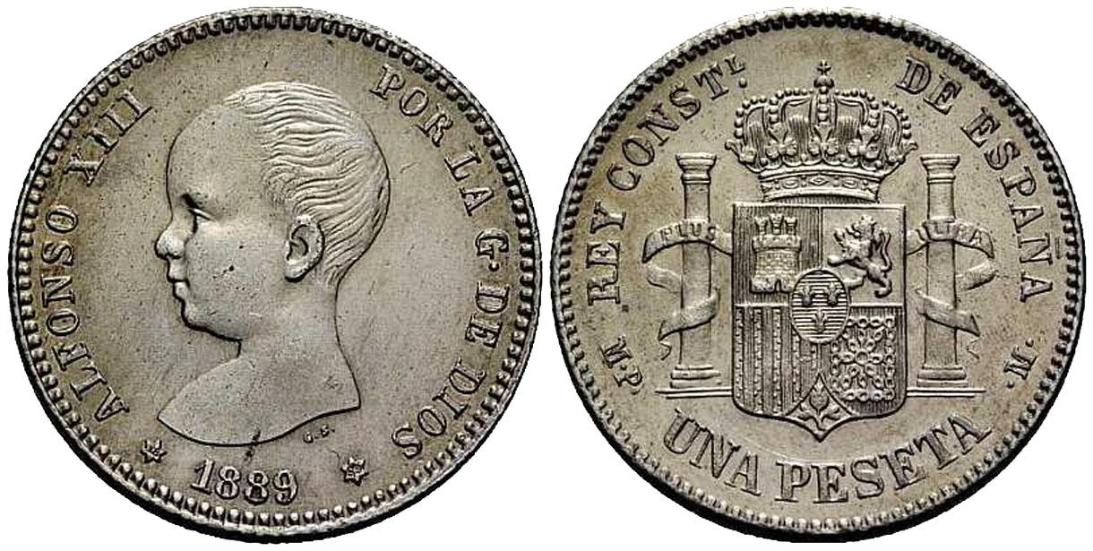 La progesion de la peseta y su decadencia. 1889_1pta_18_89_alfonso12_2000