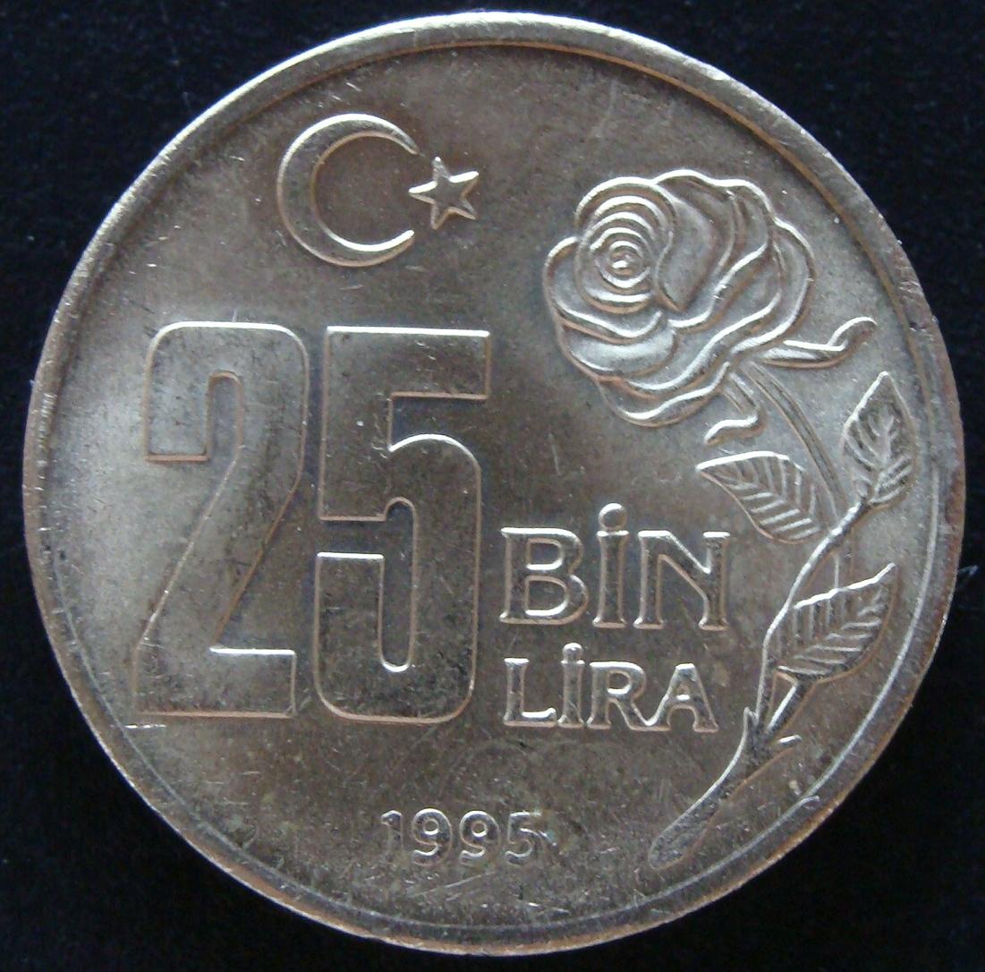 25000 Liras. Turquía (1995) TUR_25000_Liras_Protecci_n_mediambiental_an