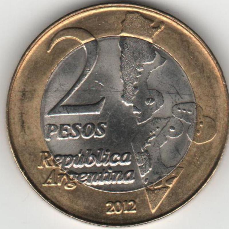 MONEDA DE 2 PESOS CONMEMORATIVA DEL 30 ANIVERSARIO DE LA GUERRA DE LAS MALVINAS ANVERSO_MALVINAS