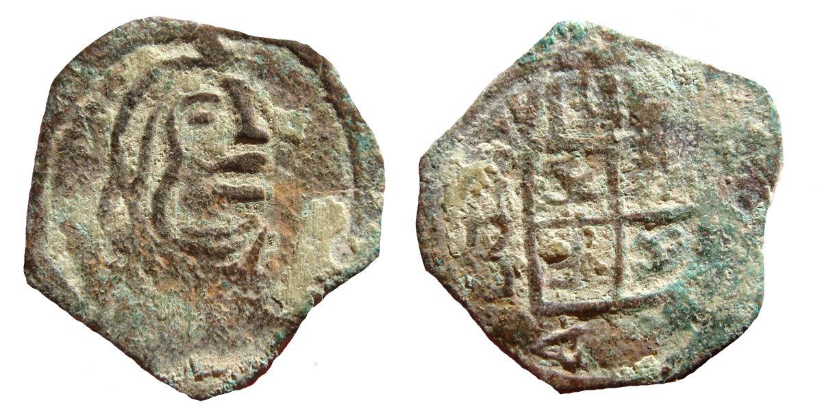 Felipe IV- 4 maravedis acuñados a martillo. Ceca?? Image
