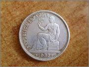 II aniversario Numismario: 1 peseta 1933 II Republica Española. P1270053