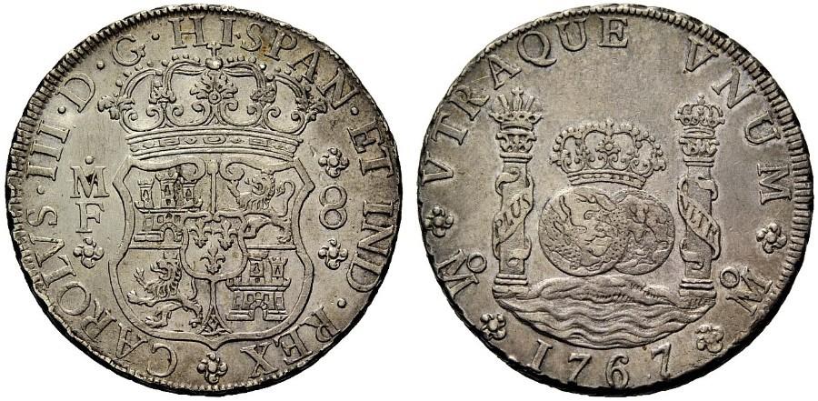 8 reales tipo columnario de Carlos III, Méjico. 1767. 1358201l