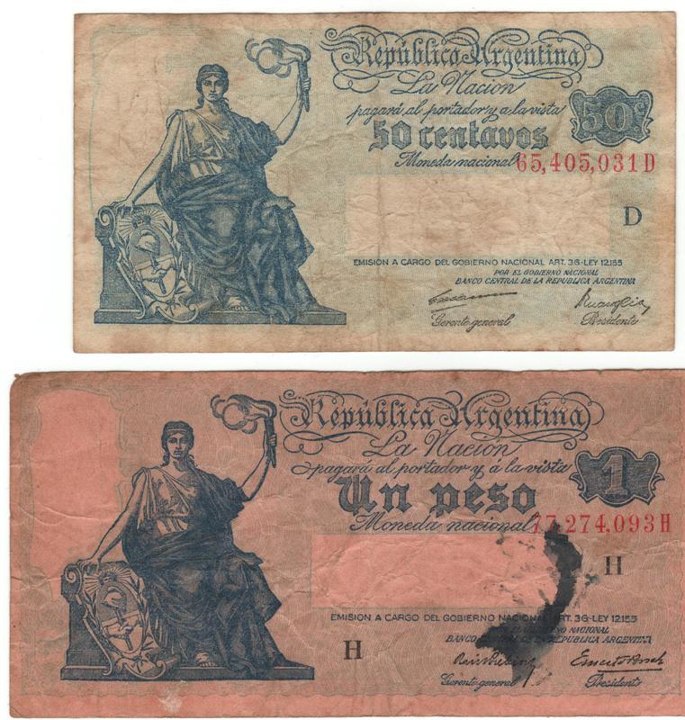 1 Peso Argentina, 1947 Anverso_serie_progreso