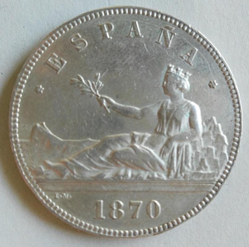 5 pesetas 1870. Gobierno Provisional 5pesetas70