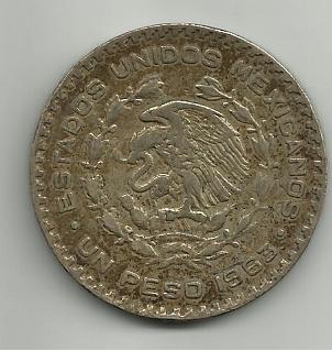 Un peso  mejicano 1963 José Morelos 1_peso_mejico_1963_rever