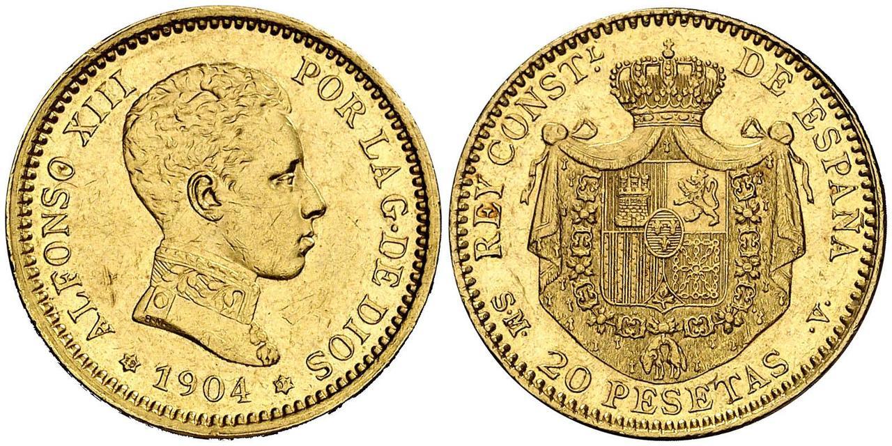 20 pesetas 1904. Alfonso XIII  2984074l_UUUU