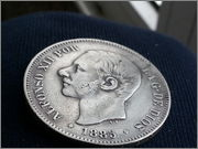 5   pesetas  1885*18-87* Alfonso XII - M.S.M  20131121_155857