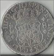8 reales tipo columnario de Carlos III, México, 1771. Image