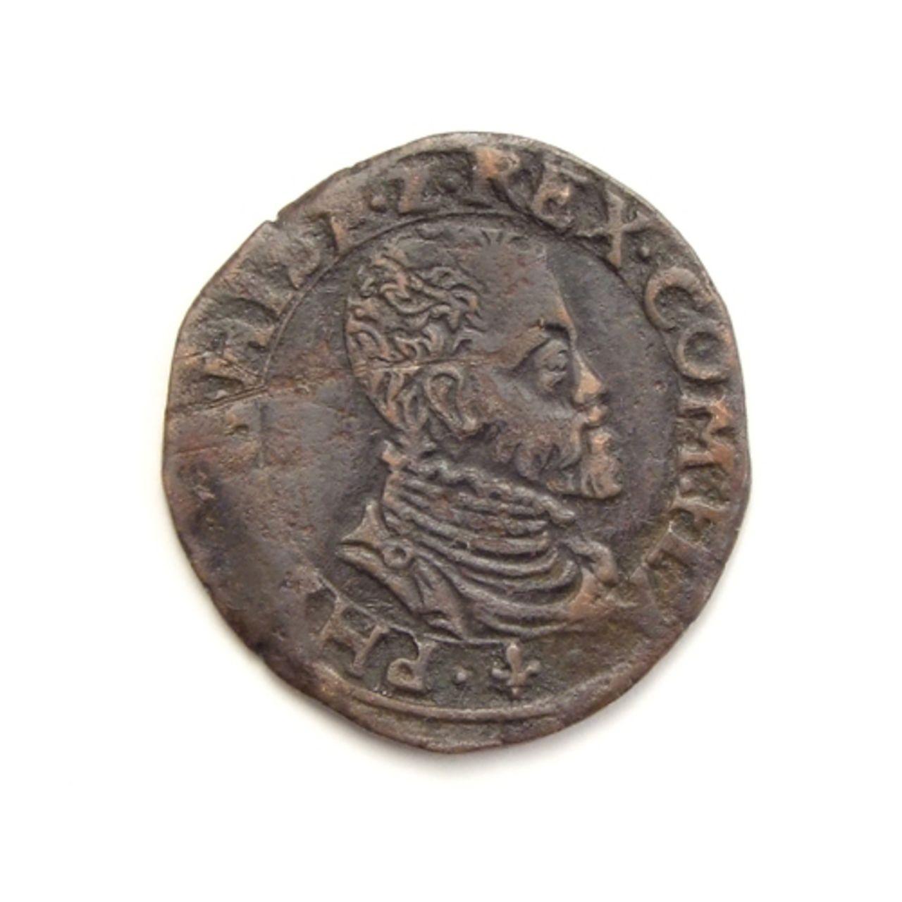 Dubbele Korte o Double Courte sf (ca. 1575). Felipe II. Vlaanderen (Flandes). Vlaanderen_brugge_dubbele_korte_z_j_5035_1